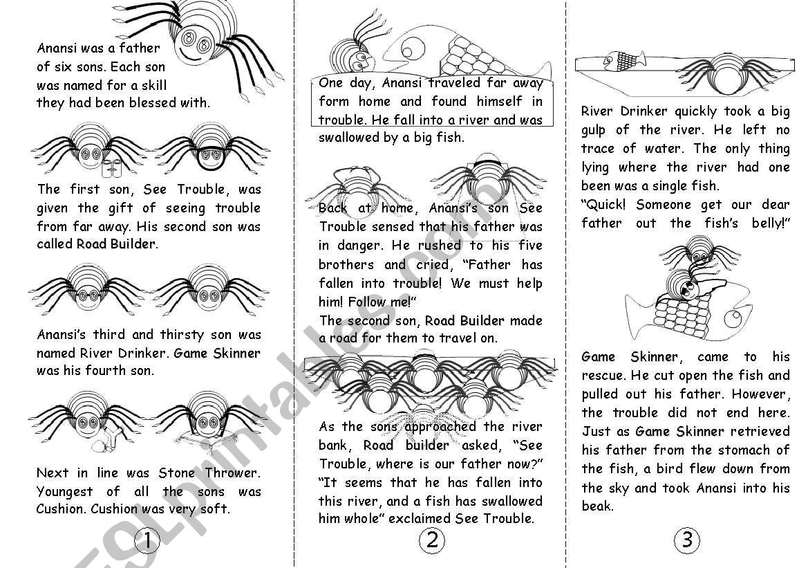 image about Printable Anansi Stories identified as Anansi and His 6 Sons [BW] (tale inside of a brochure) - ESL